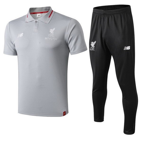 Polo Foot Ensemble Complet Liverpool 2018-2019 Gris Noir